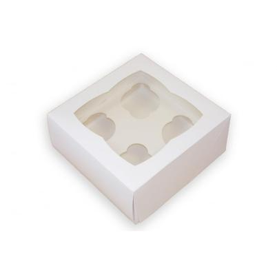 White Box with Window for 4 Cupcakes