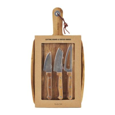 Summer Sale-Nicolas Vahe 4pc Cutting Board & Cheese Knives Set