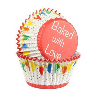 Baked With Love 25 Bunting Foil Lined Cupcake Cases