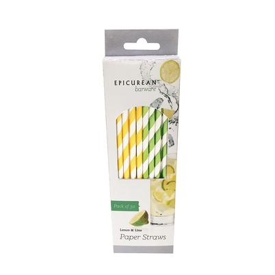 Epicurean Lemon & Lime Paper Straws 30 pcs