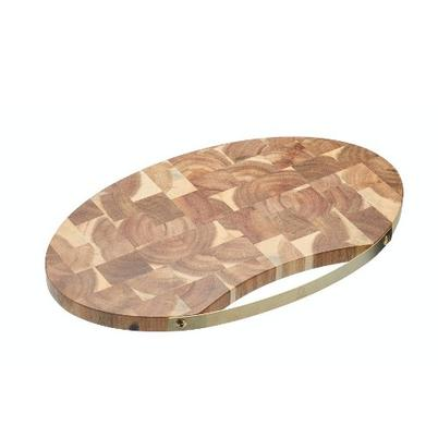 Artesa Oval Acacia Serving Board with Brass Handle