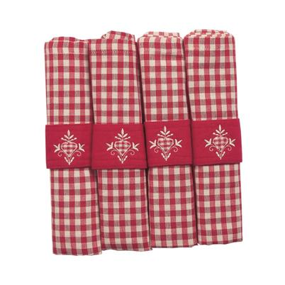 Walton & Co Auberge Napkins Red Gingham Set of 4