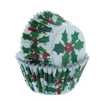 Baked With Love 25 Holly & Berry Foil Cupcake Cases