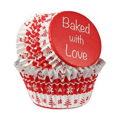 Baked With Love 25 Nordic Red Foil Cupcake Cases