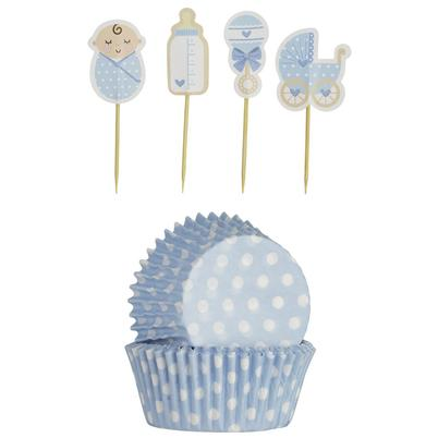Mason Cash 48 Baby Boy Cupcake Cases & Toppers