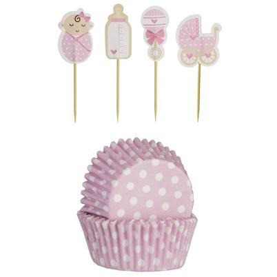 Mason Cash 48 Baby Girl Cupcake Cases & Toppers