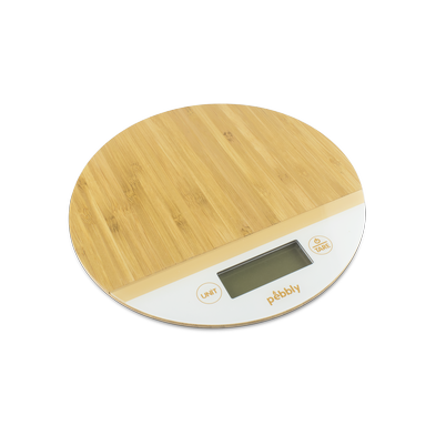 Pebbly Round Bamboo Kitchen Scale White