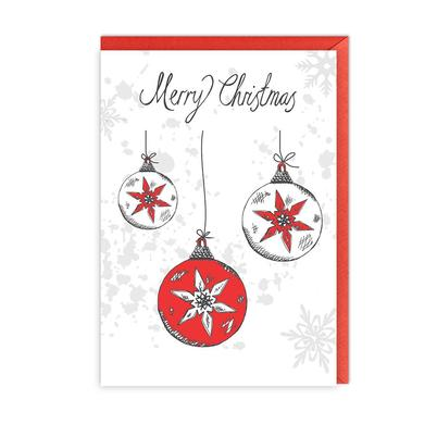 Victoria Eggs Christmas Baubles Greeting Card