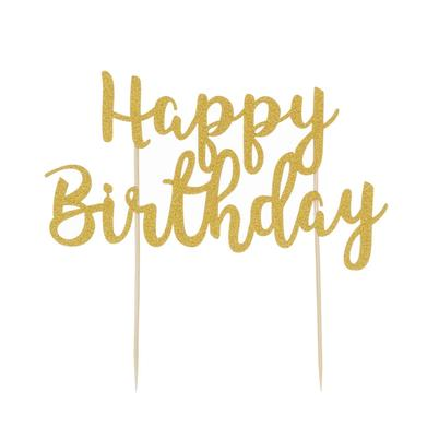 Mason Cash Cake Topper Happy Birthday Gold Glitter