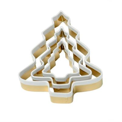 Eddingtons Brass 3pc Christmas Tree Cookie Cutters with White Top