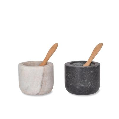 Brompton Salt & Pepper Pinch Pots with Bamboo Spoons