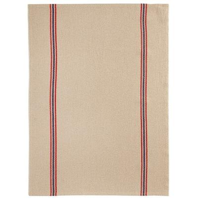 Charvet Editions Linen Tea Towel Natural, Red & Blue Stripes