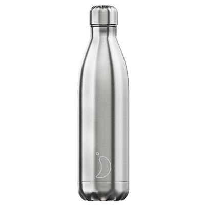 Chilly's 750ml Stainless Steel Water Bottle - Original Edition Silver