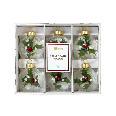 Botanical Holly Bauble Place Card Holders Set of 6