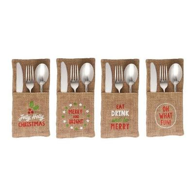 Christmas Jute Sleeve Cutlery Holder Set of 4