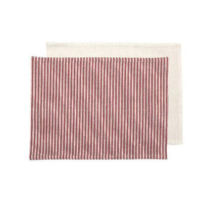 Walton & Co County Ticking 4pc Placemats Dorset Red, Plain Reverse