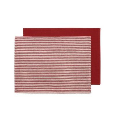 Walton & Co County Ticking 2pc Placemats Dorset Red, Red Reverse