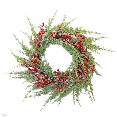 Artificial Frosted Cedar Wreath 65cm