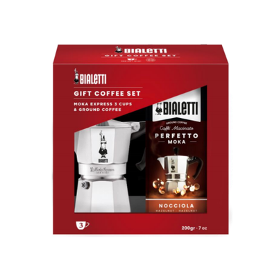 Bialetti Moka Express 3 Cup Set & Hazelnut Coffee