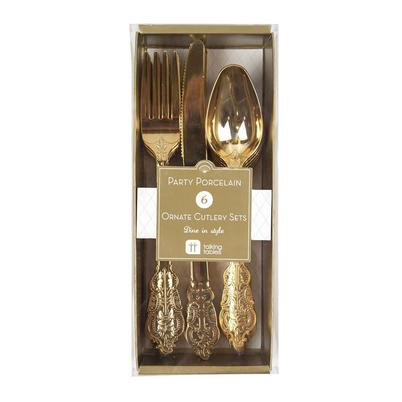 Talking Tables Party Porcelain 6 Disposable Gold Cutlery Set