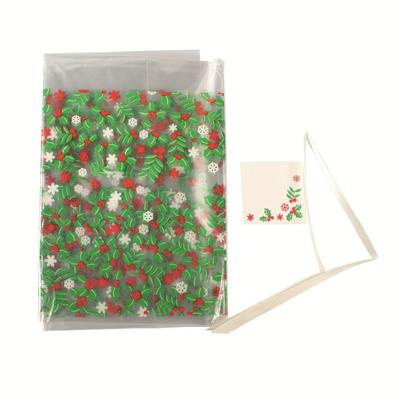 Christmas Holly Cake Bag with Tie & Gift Tag