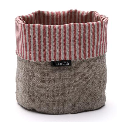 LinenMe Linen Cotton Jazz Basket Red Natural