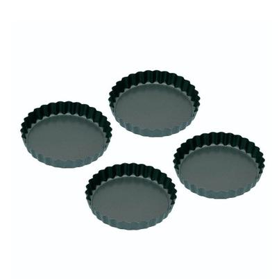 KitchenCraft Set of 4 Non-stick Mini Flan Tins 10cm