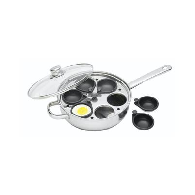 KitchenCraft Stainless Steel 28cm 6 Hole Egg Poacher