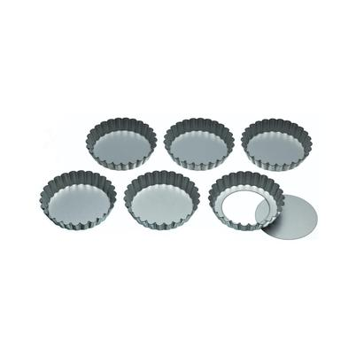 KitchenCraft Set of 6 Loose Base Tart Tins 10cm