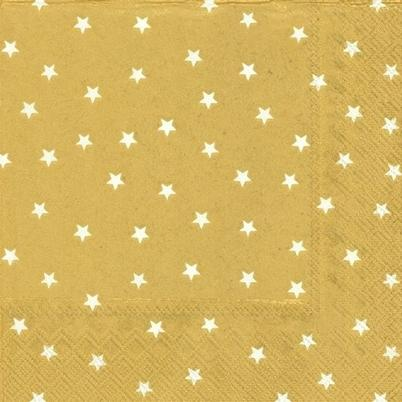 IHR Lunch Napkin Little Stars Gold White