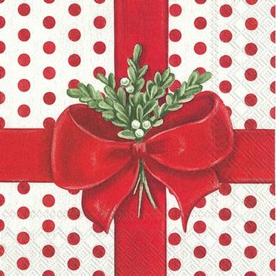 IHR Christmas Lunch Napkin A Present For You White Red