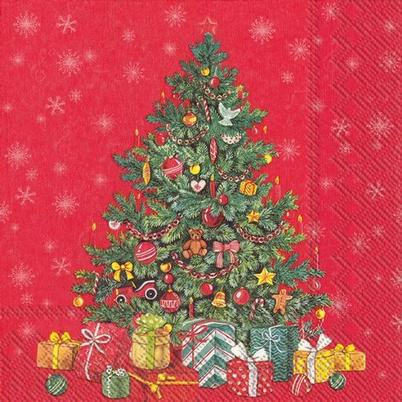IHR Christmas Lunch Napkin Festive Christmas Tree Red