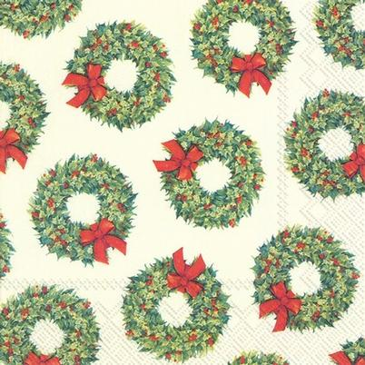 IHR Christmas Lunch Napkin Lots of Wreaths Cream
