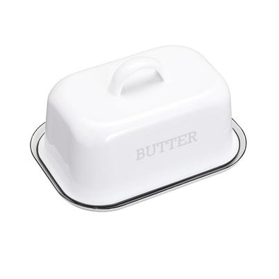 Living Nostalgia Enamel Butter Dish White-Grey