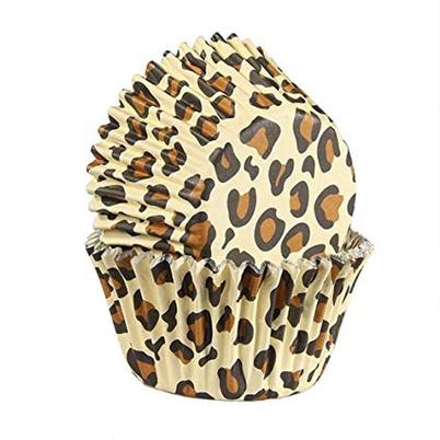 Baked With Love 25 Leopard Print Natural Foil Lined Cupcake Cases