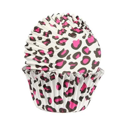 Baked With Love 25 Leopard Print Pink Foil Lined Baking Cases