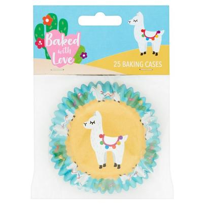 Baked With Love 25 Foil Lined Llama Baking Cases