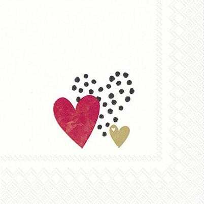 IHR Paper Cocktail Napkins - Love You gold red