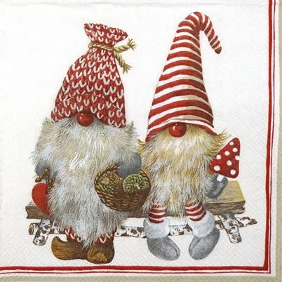 IHR Christmas Lunch Napkin Friendly Tomte Red