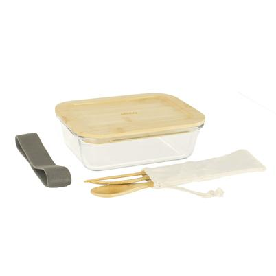 Pebbly Lunch Box & 3pc Cutlery Set