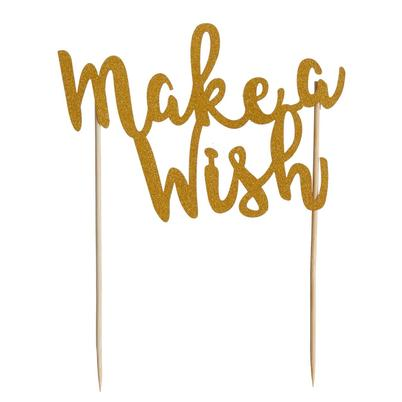 Mason Cash Cake Topper Make A Wish Gold Glitter