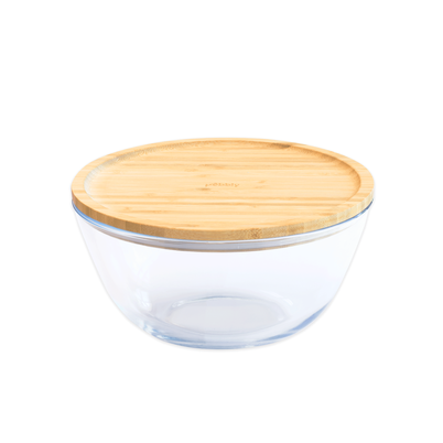 Pebbly Glass Mixing Bowl with Bamboo Lid 1600ml