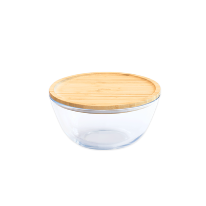 Pebbly Glass Mixing Bowl with Bamboo Lid 770ml
