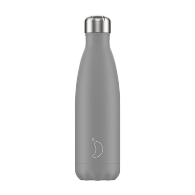 Chilly's 500ml Stainless Steel Water Bottle Mono - Grey