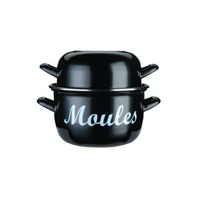 KitchenCraft Mediterranean Enamel Mussel Pot Black Small 12cm