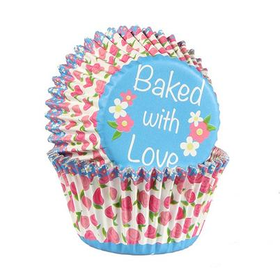 Baked With Love 25 Rose Bud Foil Lined Cupcake Cases