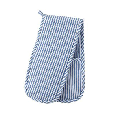 Horizon Double Oven Gloves Pin Stripe Blue