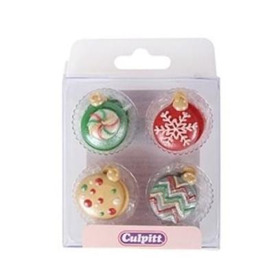 Culpitt Sugar Piping Christmas Baubles 12pc