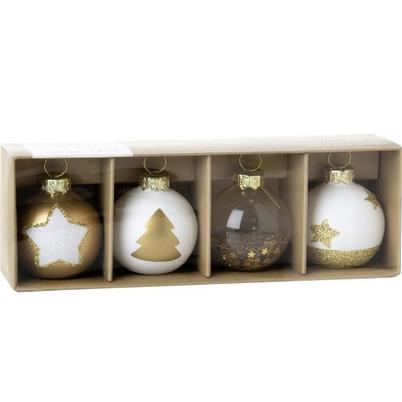 IHR Place Card Holder Set of 4 Gold Baubles