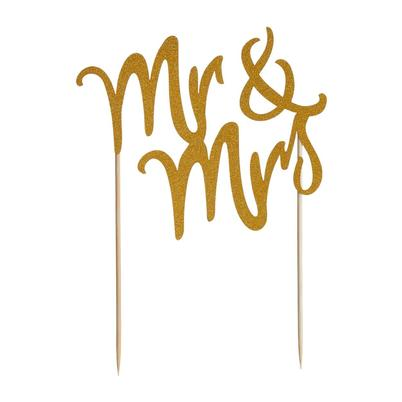 Mason Cash Mr & Mrs Gold Glitter Cake Topper